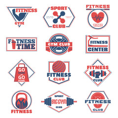 Vector illustration of set of logos of the fitness.