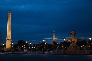 Place de la Concorde and Eiffel Tower by Night, Paris, France