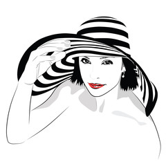 Girl with dark hair in big striped hat - vector