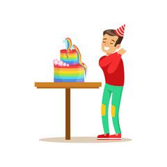 Boy Enjoying Rainbow Cake, Kids Birthday Party Scene With Cartoon Smiling Character