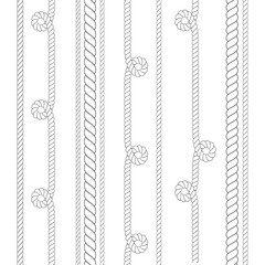 Vector outline Nautical rope patterns thin and thick for use as brush. Navy rope for border or frame with marine knots in lines. Thin line climbing twisted rope for lasso.