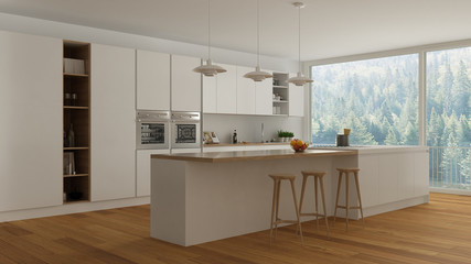 Scandinavian white kitchen with wooden and white details, minima