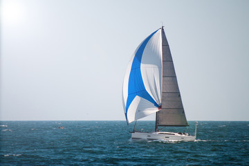 Luxury sailing Boat  at   sea. Expensive  yacht