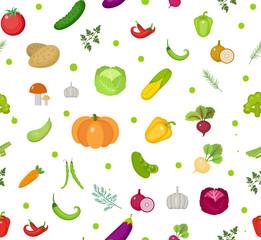 Vegetables seamless pattern. Salad endless background. Healthy lifestyle, vegan, vegetarian diet, raw food. Vector illustration