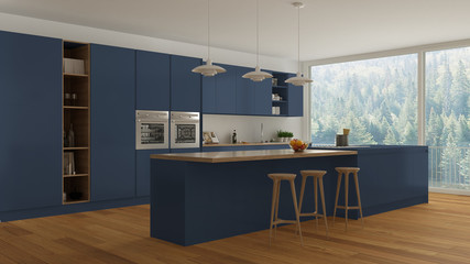 Scandinavian white kitchen with wooden and blue details, minimal