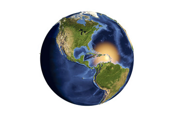 Planet Earth from space showing Americas with enhanced bump isolated on white background,3D illustration, Elements of this image furnished by NASA
