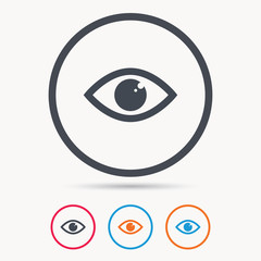 Eye icon. Eyeball vision symbol. Colored circle buttons with flat web icon. Vector
