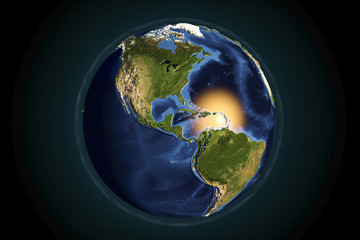 Planet Earth from space showing Americas with enhanced bump, 3D illustration, Elements of this image furnished by NASA