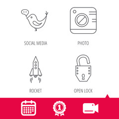 Achievement and video cam signs. Photo, social media and rocket icons. Open lock linear sign. Calendar icon. Vector
