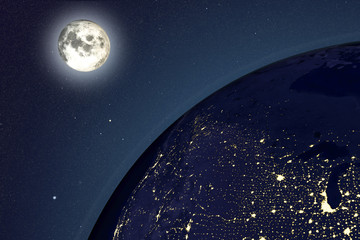Night Earth and moon, 3D illustration. USA in night. Elements of this image furnished by NASA