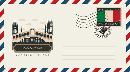 an envelope with a postage stamp with Venice Puente Rialto, and the flag of Italy
