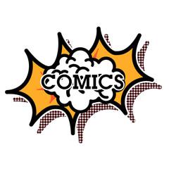 Color vintage comics shop emblem