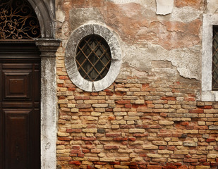 The wall with the window in Venice - Italy