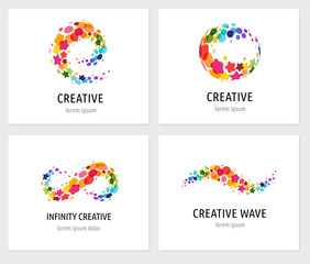 Creative, digital abstract colorful icons, elements and symbols, logo collection, template with letters