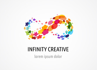 Creative, digital abstract colorful icon of infinity, endless symbol, elements, logo