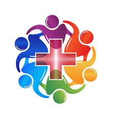 Teamwork medical people logo