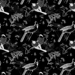 Seamless monochrome pattern with birds and flowers
