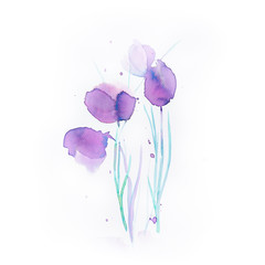 Abstract Watercolor Flowers (hand drawn)