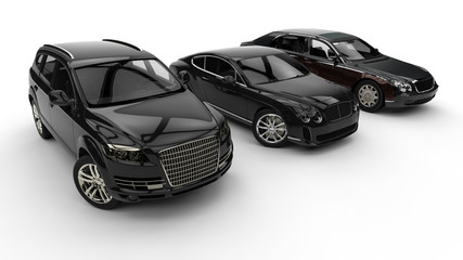 Luxury transportation / 3D render image representing an luxury car hire fleet