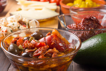 Spanish or italian starters with olives and peppers