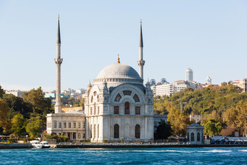 The Dolmabahce Mosque is in Istanbul, Turkey.