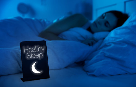 Girl healthy sleeping in bed at night