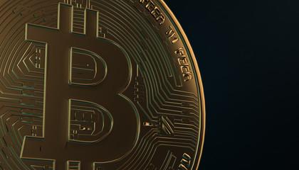 Golden Bitcoins, new virtual money on various digital background, 3D render