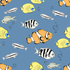 Seamless pattern with ocean fishes on blue background