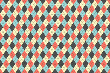 Classic argyle seamless pattern for textile, paper print. Vector illustration. Blue grey red beige.
