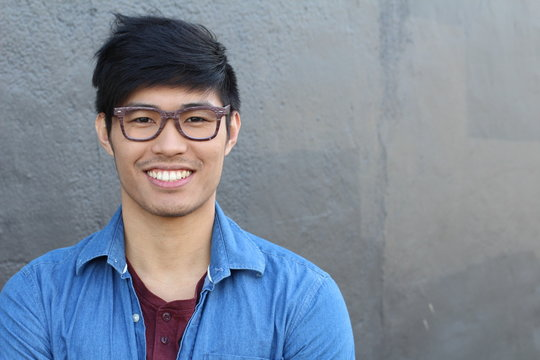 Asian Man Portrait Smiling Isolated with copy space