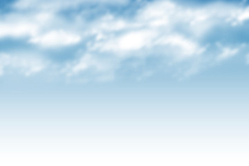 Illustration of a blue sky with clouds. Background with white haze