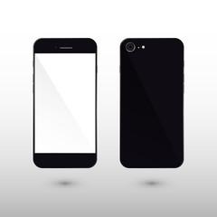 Black Smart Phone Vector Illustration isolated on white.