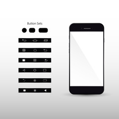 Black Smart Phone Vector Illustration with button set isolated on background