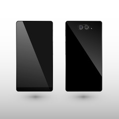 Black Smart Phone Vector Illustration isolated on white with dual camera