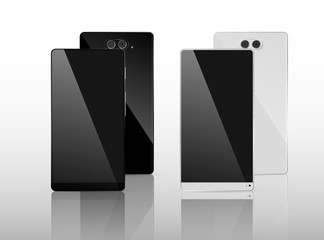 Black and White Smart Phone with dual camera and without frame Vector Illustration isolated on background