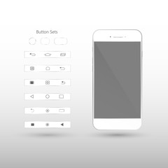 White Smart Phone Vector Illustration with button set isolated on background