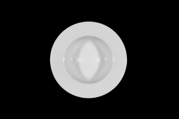 Small deep plate with wide shoulders on black background directly from above
