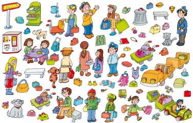 adesivi, di icone, di buffi bambini con animali