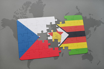 puzzle with the national flag of czech republic and zimbabwe on a world map