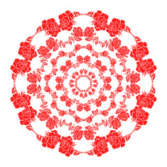 Circle floral pattern. Vintage style.Can be used for invitation, menu, card design, for pillow design, banners, signs and others. Red tones.