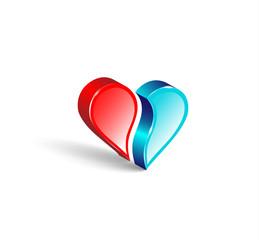 Logo 3d emblem. Two comparing parts of heart. Colorful design.