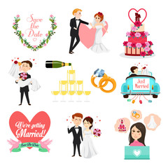 Wedding Celebrations Icons and Cliparts