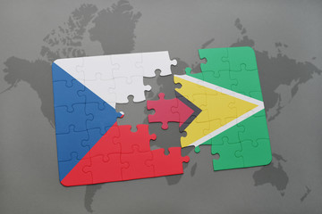 puzzle with the national flag of czech republic and guyana on a world map