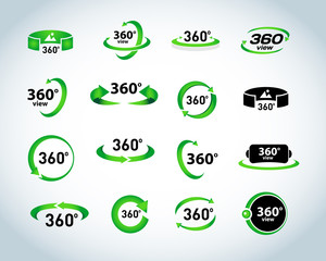 360 Degrees View Vector Icons set. Virtual reality icons. Isolated vector illustrations.