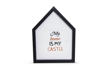 Photo frame in the form of the house with the inscription My hom