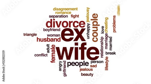 Ex wife animated word cloud, text design animation