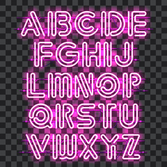 Glowing purple Neon Alphabet with letters from A to Z. Shining and glowing neon effect. Every letter is separate unit with wires, tubes, brackets and holders that can be combined with other.
