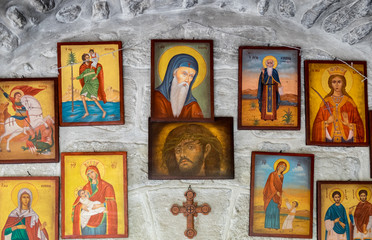 Many Orthodox icons at Monastery of St Gerasimus. Israel