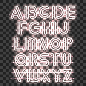 Glowing White Neon Alphabet with letters from A to Z. Shining and glowing neon effect. Every letter is separate unit with wires, tubes, brackets and holders that can be combined with other.