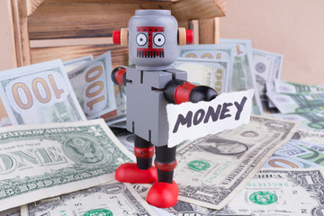 MONEY word with standing robot
